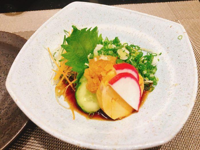 大好物のあん肝。タイで食べることができるとは思いませんでした。