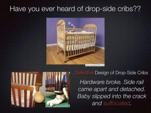 Drop-side Cribsが米国においてリコールになった事例を紹介。