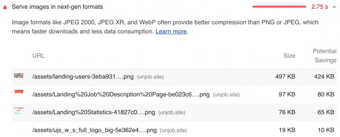 次世代型の画像フォーマットに変換 WebP