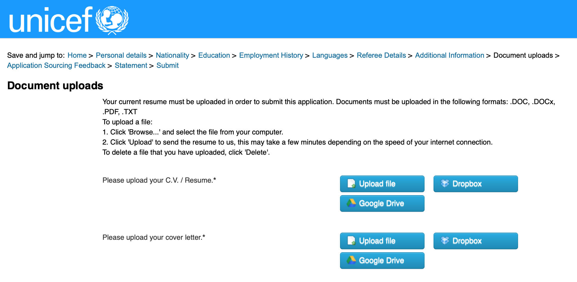 UN Certificate List